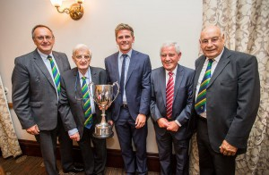 Player of the Year Timm van der Gugten with Alan Jones President of Glamorgan CCC and the Officers of the Balconiers