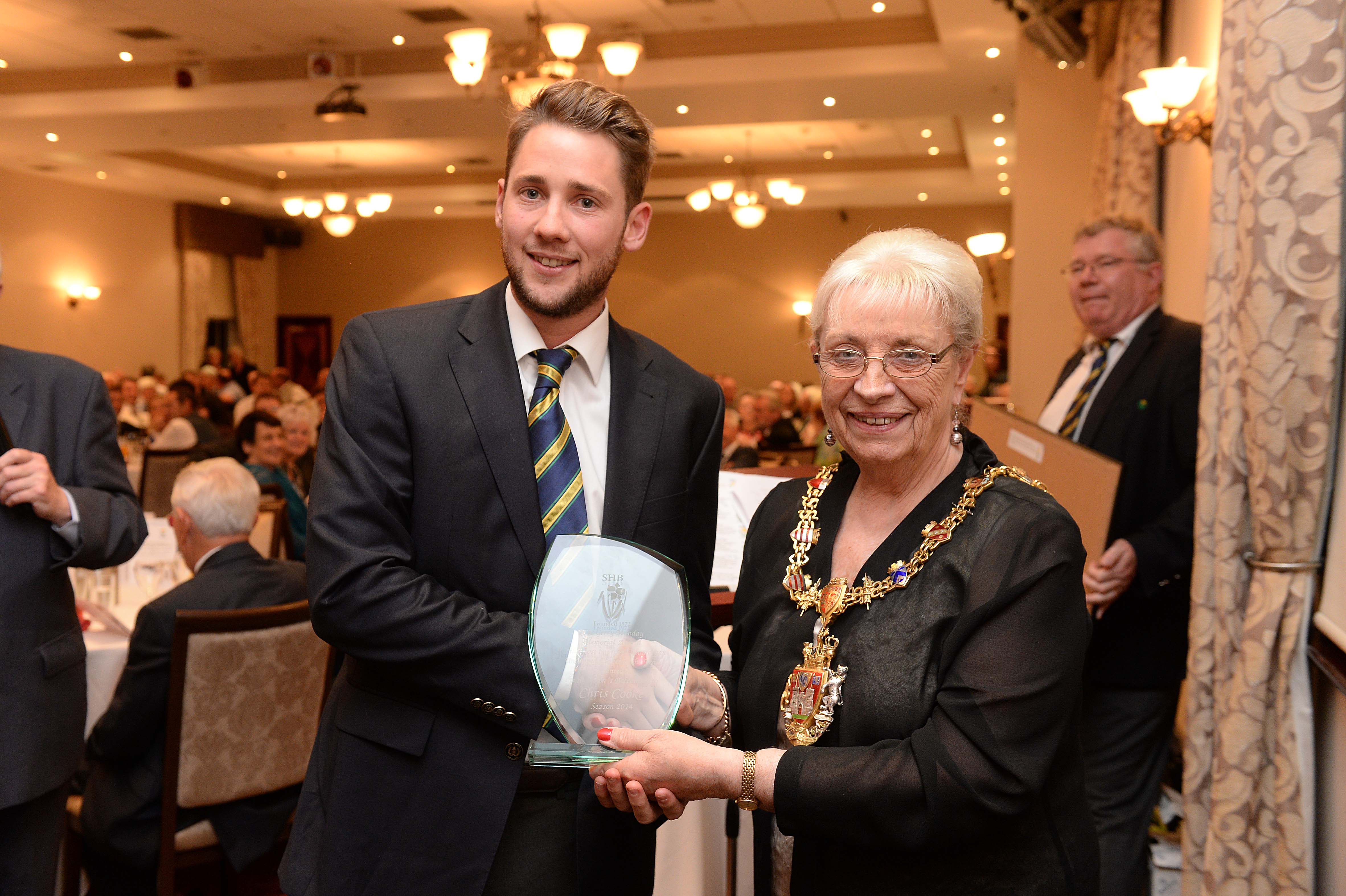 Chris Cooke receives his Gerry Munday Award from The Lord Mayor of Swansea - Councillor Ceinwen Thomas.