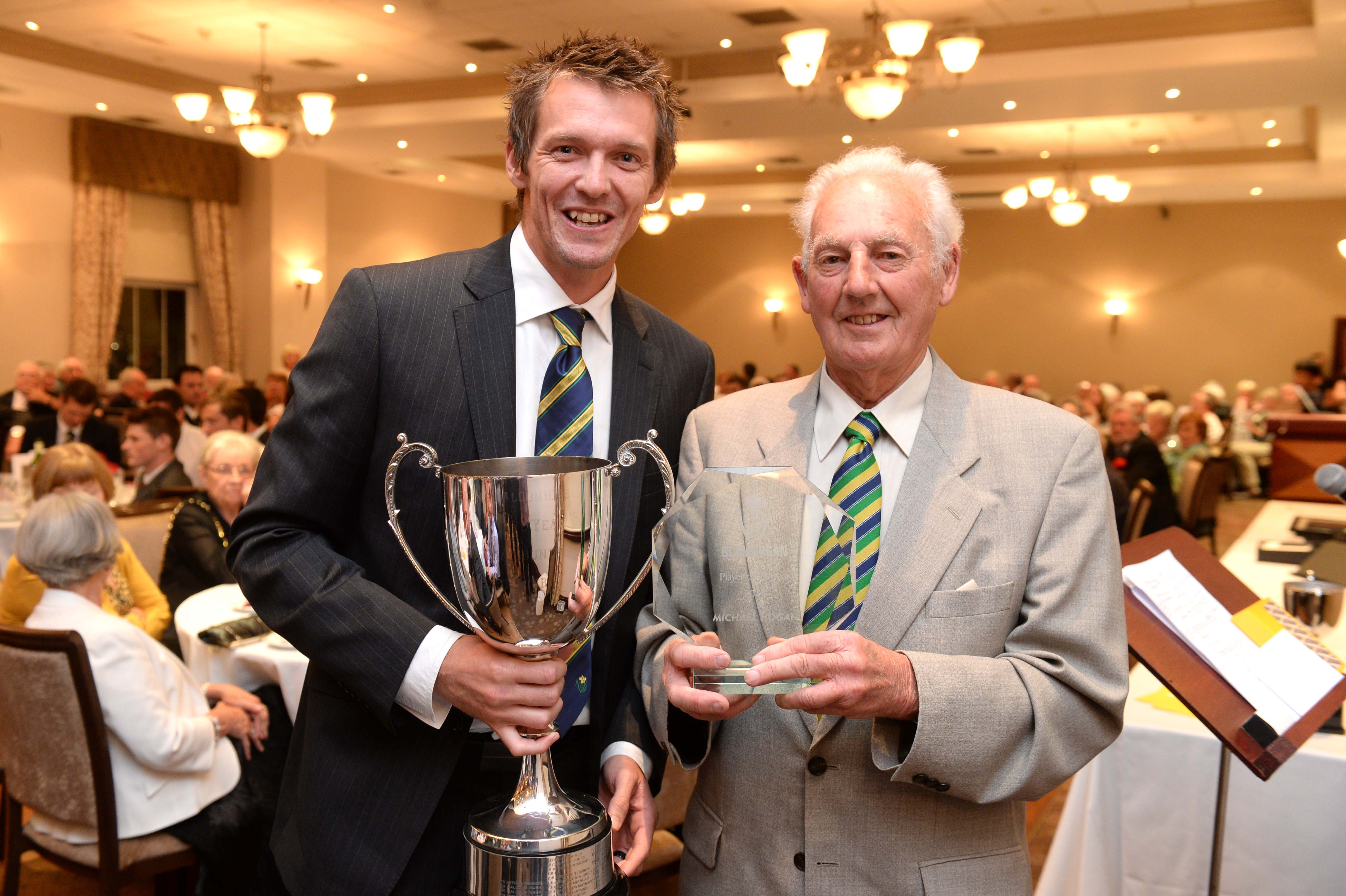 Michael Hogan - Balconiers' Player of the Year 2014 - receives his award the the Balconiers' President, Don Shepherd.