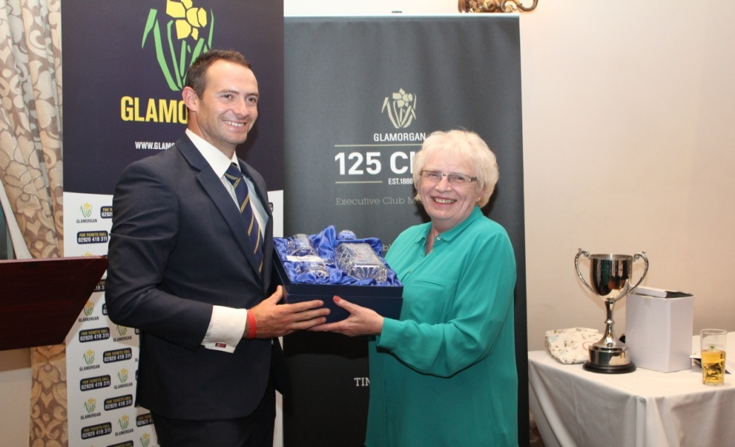 Dean Cosker being presented with a Special Award by Mary O'Brien in recognition of reaching 500 first-class wickets for Glamorgan (v Kent in September 2013)